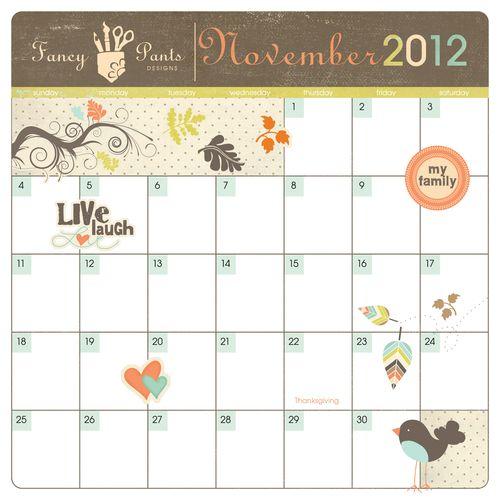 Adorable November Calendar Freebie